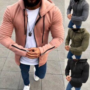 Plus Size Coat Men Jackets Hoodies Autumn Pleated Long Sleeve Coats Drawstring Hooded Coat cardigan Zipper Men's Coats Jacket