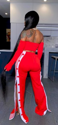 Sexy Off-Shoulder Top + Long Pants Split Button Two-Piece Set Women Striped Printed Nightclub Tracksuit Casual Homewear Female